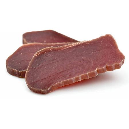Dried salted tuna slices called mojama in Spain