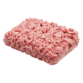 Raw minced beef meat isolated on white