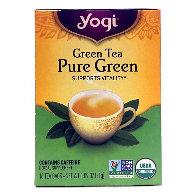 Yogi Tea, Té Verde Puro Orgánico con Cafeína, 31g