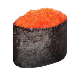Sushi Gunkan Maki set with red orange green and black tobiko isolated on white