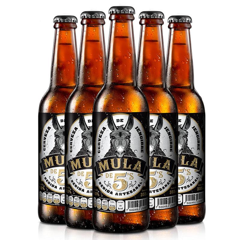 Cerveza de Jengibre Mula de 5´s, 6 pzas