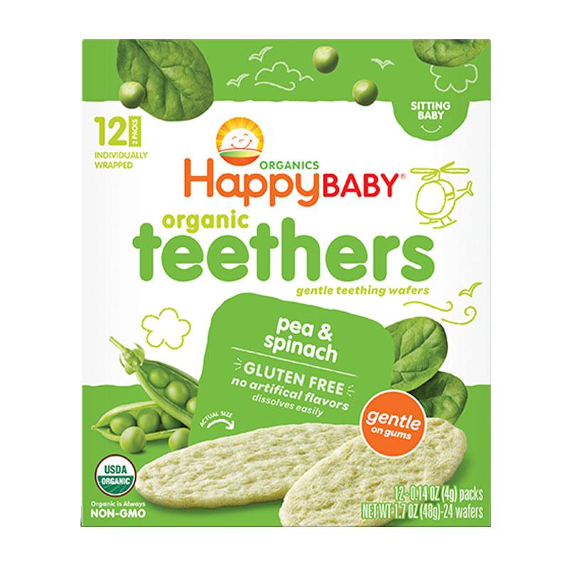 Happy Baby Obleas Suaves Orgánicas Chícharo y Espinaca, 48g