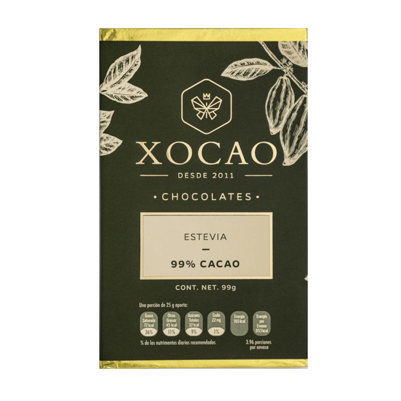 Barra de Chocolate Extra Amargo con Estevia, 99g