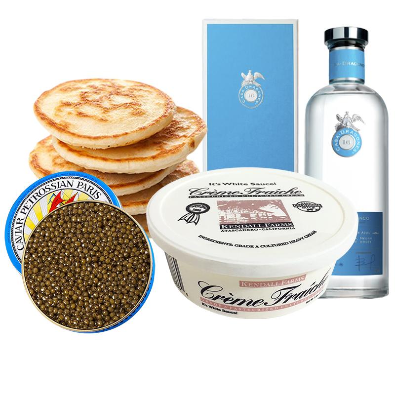 Paquete Caviar, Blinis, Crème Fraiche & Tequila Casa Dragones